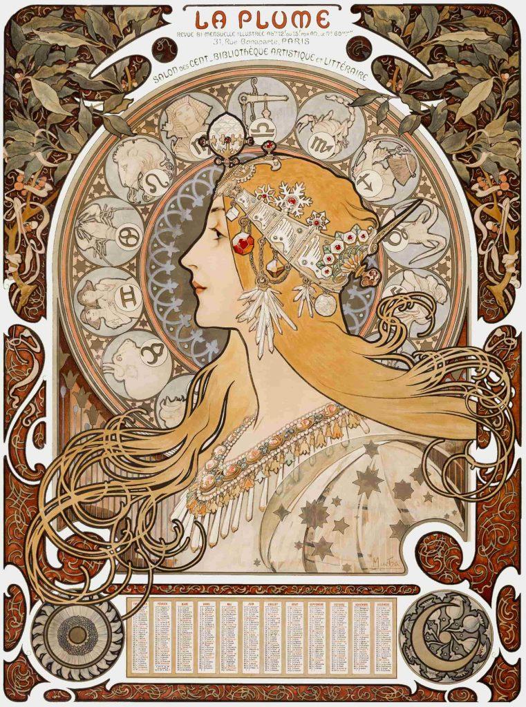 """""""Zodiaque"""" oder """"La Plume"""" von Alfons Maria Mucha"""